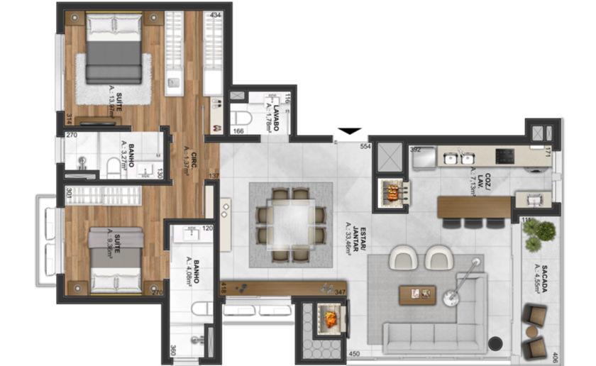 Apartamento de 3 vistas