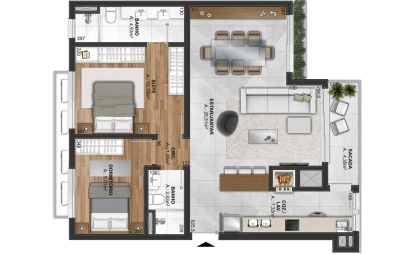 Apartamento de 2 vistas