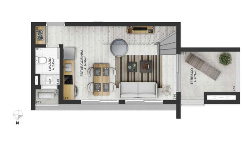 Duplex e studio pé direito duplo