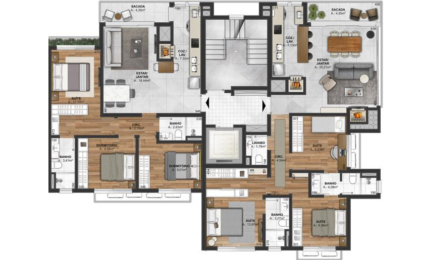 Apartamento de 2 e 3 vistas com terraço